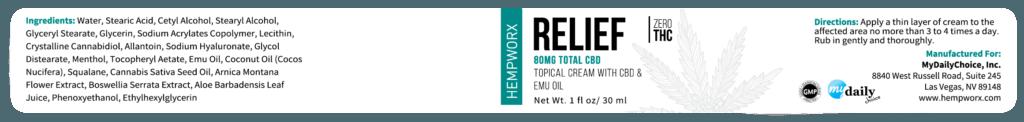 Hemp Shack Hempworx CBD Infused 80mg Relief Topcial Cream Ingredients